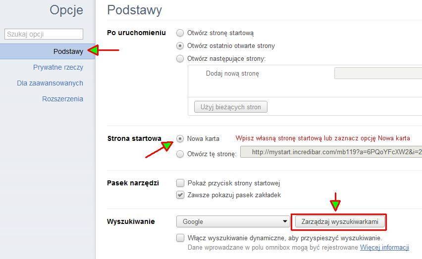 chrome1 Jak usunąć dodatkowe wyszukiwarki z przeglądarki (np. Incredibar)