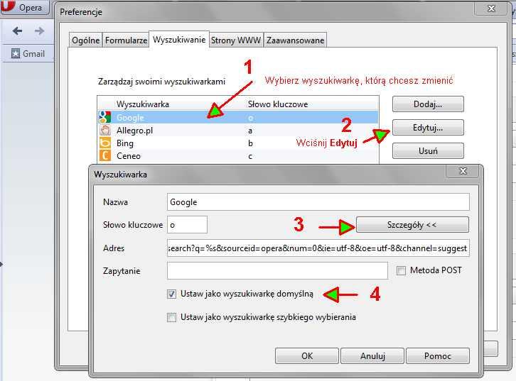 opera1 Jak usunąć dodatkowe wyszukiwarki z przeglądarki (np. Incredibar)